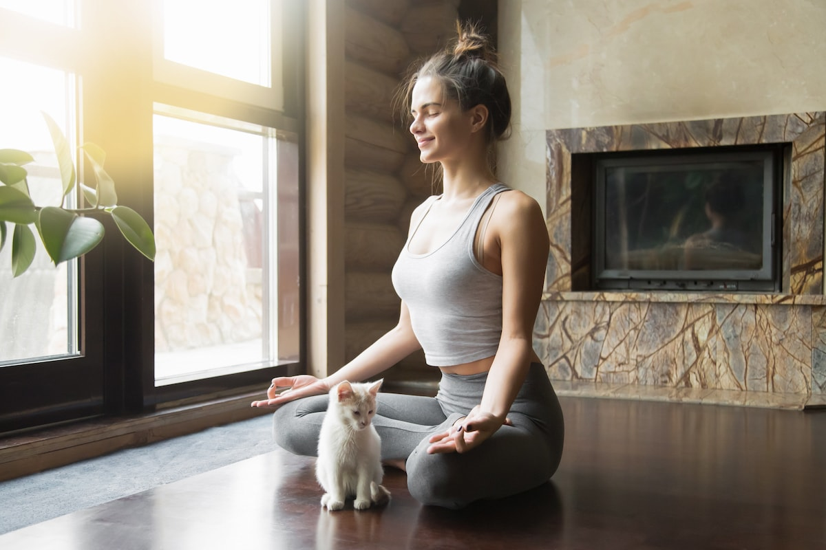 Girl Meditating with a kitten